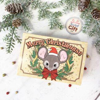Petite souris dans une boite d'allumette de noël vintage- Merry Christmouse