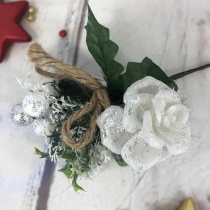 Décoration de Noël - Bouquet pailleté rose blanche