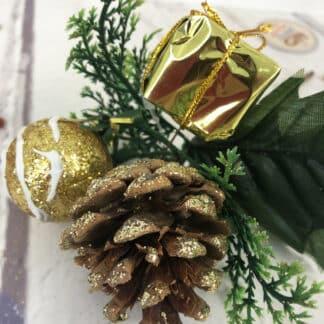 Décoration de Noël - Bouquet pailleté doré petit cadeau