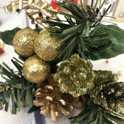 Décoration de Noël - Bouquet pailleté doré pomme de pain