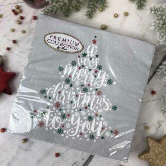 """Lot de 20 Serviettes de table de noël grises- """"A very merry christmas to you"""""""