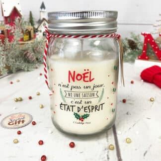Bougie jar Noël - Noël n'est pas un jour ni une saison c'est un état d'esprit