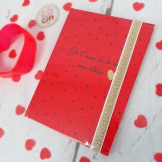 """Carnet de notes A6 rouge - """"Je t'aime de la lune aux étoiles"""""""