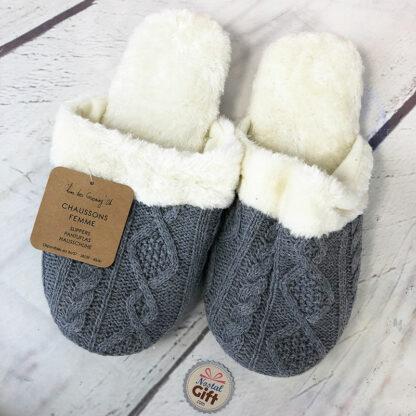 Chaussons tricot femme - Gris