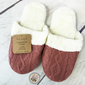 Chaussons tricot femme - Rose