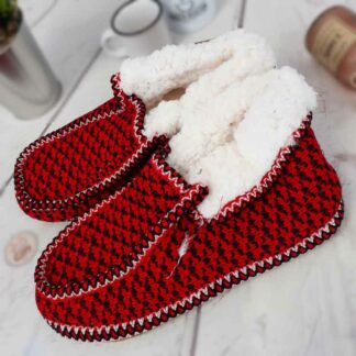 Chaussons sherpa homme  - Rouge
