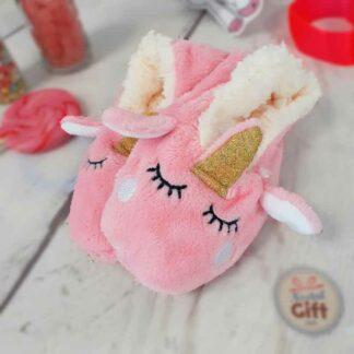 Chaussons licorne rose pour enfant
