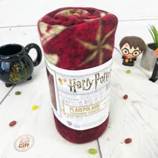 Harry Potter - Plaid polaire bordeaux Poudlard lunes et étoiles