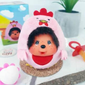 Peluche Monchhichi Kiki mini ball - Poulette rose