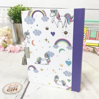 Journal intime violet - Mille et une licornes avec cadenas