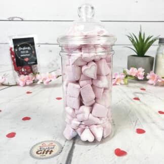 "Bonbonnière Saint Valentin - Bonbons petits coeurs rouge et blanc Haribo x 100 - ""Toi + Moi"""