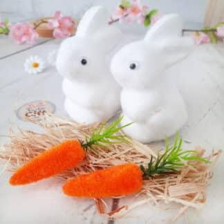 Décoration de Pâques - Lot de 2 petits lapins blanc dans un nid