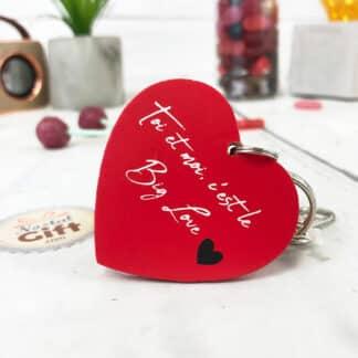 """Porte-clés cœur en bois  - """" Toi et moi , c'est le Big Love """""""