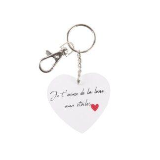 """Porte-clés cœur en bois  - """" Je t'aime de la lune aux étoiles """""""
