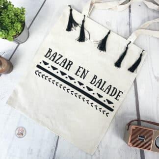 "Tote bag à pompons "" Bazar en balade """