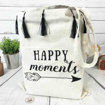"Tote bag à pompons "" Happy moments """