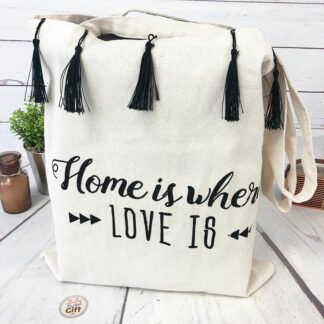 """Tote bag à pompons """" Home is where love is """""""