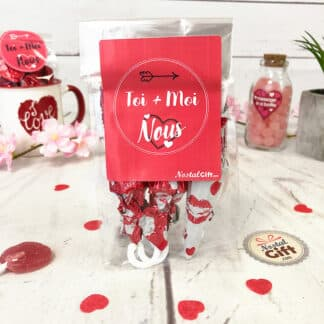 Sachet Saint Valentin - Toi+Moi - Parapluie au chocolat x6