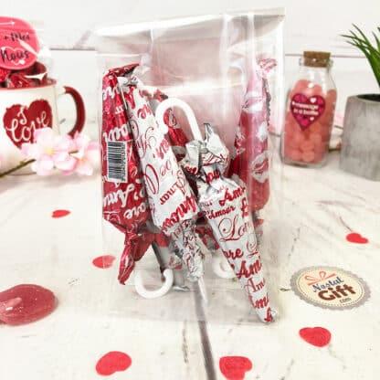 Sachet Saint Valentin - Pour son amoureux - Parapluie au chocolat x6