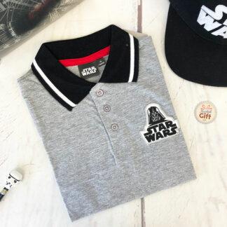 Star Wars- Polo enfant Dark Vador gris et noir manches courtes