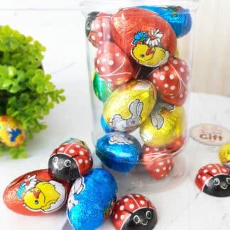 Bonbonnière de Pâques - 10 Œufs au chocolat et 10 coccinelles fourrées au praliné
