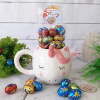 Mug Licorne rempli d'œufs en chocolat praliné x 20 - Joyeuses Pâques