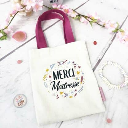 Mini tote bag « Merci Maîtresse » - Cadeau Maîtresse  - Collection Florale
