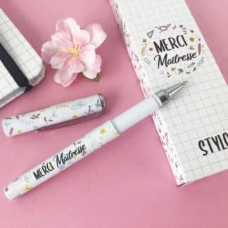 Stylo « Merci maîtresse » – Cadeau maîtresse - Collection florale