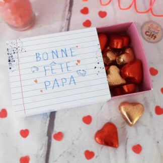 """Boîte de chocolat - Cœur chocolat fourrés x20 - """"Bonne fête Papa"""""""