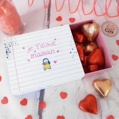 """Boîte de chocolat - Cœur chocolat fourrés x20 - """"Je t'aime Maman"""""""