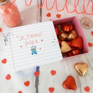 """Boîte de chocolat - Cœur chocolat fourrés x20 - """"Je t'aime Papa"""""""
