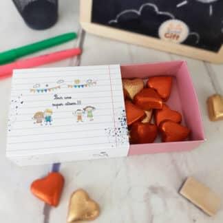 """Boîte de chocolat - Cœur chocolat fourrés x20 - """"Pour une super Atsem"""""""