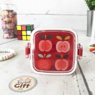 Mini boîte à goûter rétro- Motif pommes