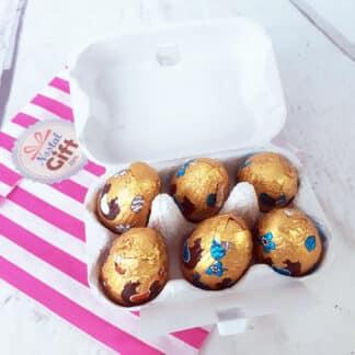 "Boîte à oeufs Chocolat Praliné ""un merci tout en chocolat"""