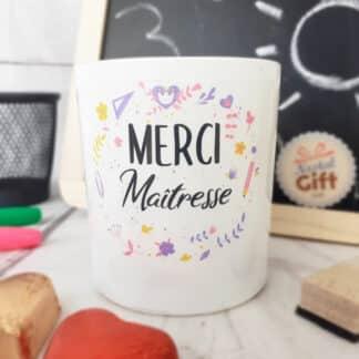 """Bougie avec bijou """"Merci Maîtresse"""" - Collection florale"""