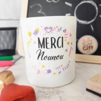"""Bougie avec bijou """"Merci Nounou"""" - Collection florale"""