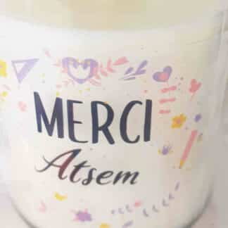 "Bougie Jar - ""Merci Atsem"" - Collection florale"