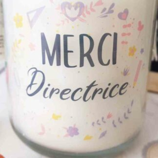 "Bougie Jar - ""Merci Directrice"" - Collection florale"