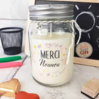"Bougie Jar - ""Merci Nounou"" - Collection florale"