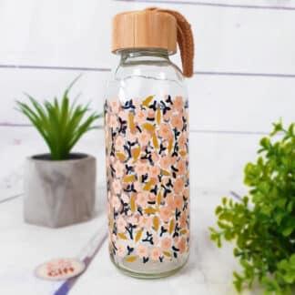 Bouteille en verre avec bouchon en bambou - Motif fleurs de cerisier (42 cl)