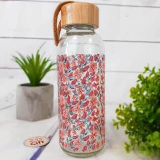 Bouteille en verre avec bouchon en bambou - Motif fleuri (42 cl)