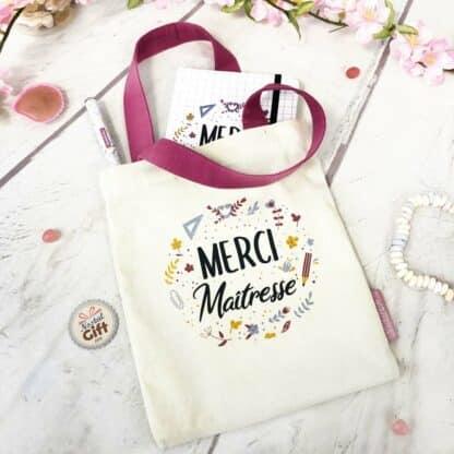 Kit sac + carnet + Stylo « Merci Maîtresse » Idée cadeau maîtresse - Collection florale
