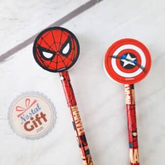 Marvel - Set de 2 crayons avec gommes