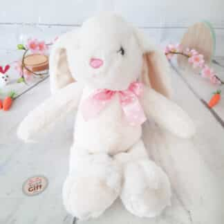 Peluche Lapin blanc avec nœud rose