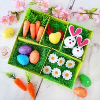 Set de décoration de Pâques - Lapins, carottes, œufs, poule et pâquerettes