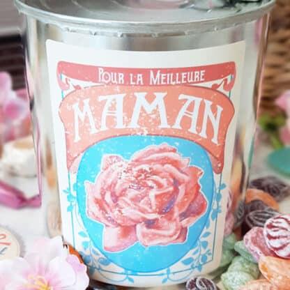 """Coffret bonbon ancien: Boite de conserve remplie de bonbons """"Pour la meilleure maman"""""""