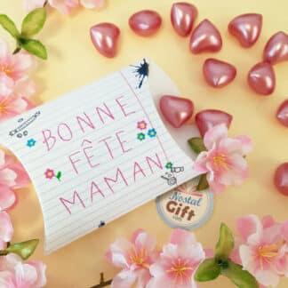 """Boîte """"Bonne fête maman"""" - Perle de bain senteur rose x 12 - Cadeau maman"""
