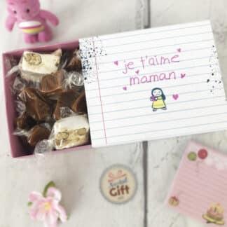 """Boîte de 10 nougats et 10 caramels au beurre salé - """"Je t'aime Maman"""""""