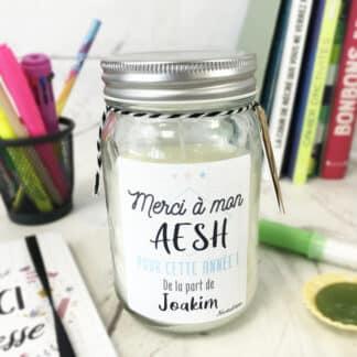 Bougie personnalisée - Cadeau de remerciement AESH