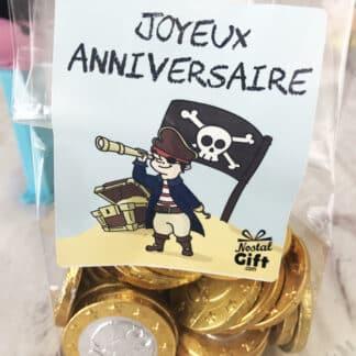 Sachet de 30 pièces en chocolat - Joyeux anniversaire Pirate